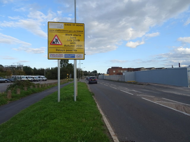 Notification of roadworks on Doxey Road