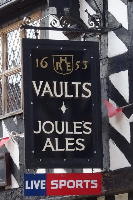 Sign for the Sandbrook Vaults, Market Drayton