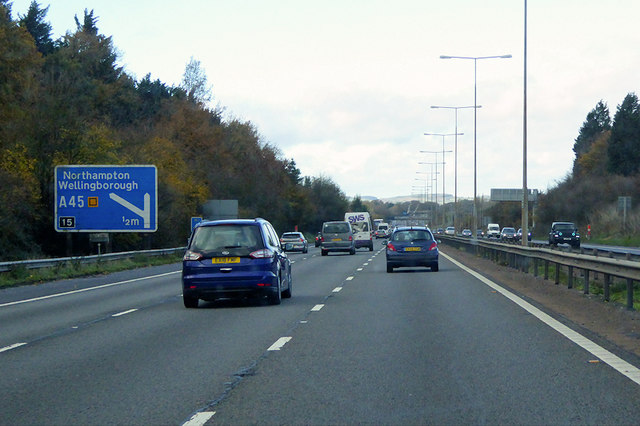 Northbound M1 near to Courteenhall