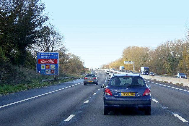 Northbound M1 approaching Northampton Services