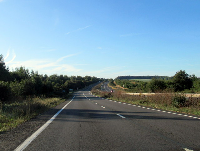 A34 southbound approaching turn for Tufton Warren