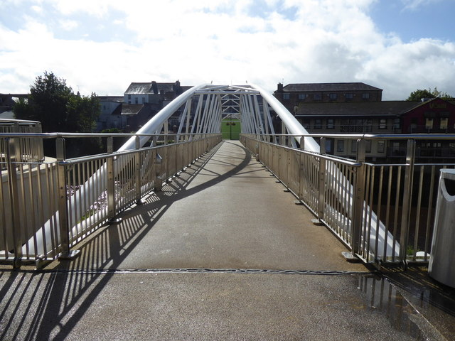 Curved shadows along the new footbridge, Omagh