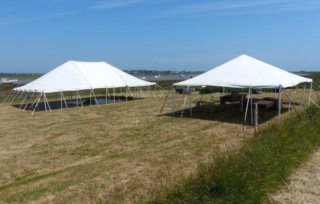 Tents next to Westrow Reach on the River Alde