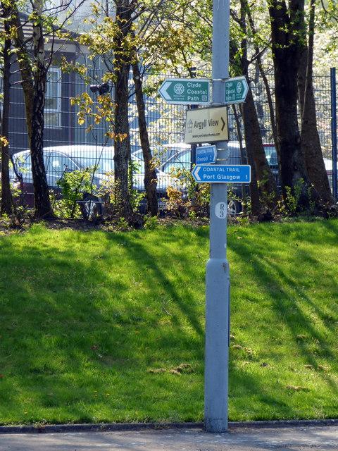 Coastal path signs at Bogstom