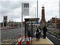 SJ7796 : Bus stop in Barton Dock Road by Bob Harvey