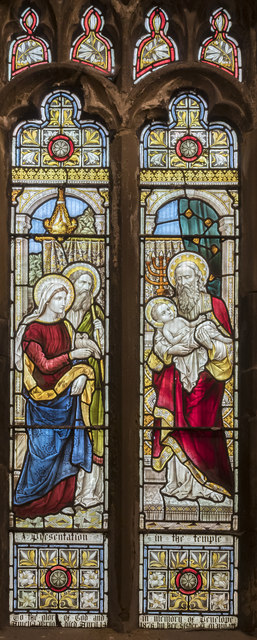 Stained glass window, St Mary's church, Broughton