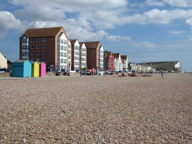 Beach huts and apartment blocks on Seaford Esplanade