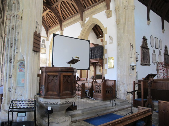 Projection screen by pulpit, St Cyriac's Church, Lacock