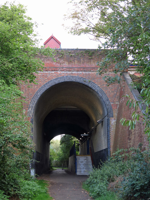 Railway underpass and entrance to Denham station