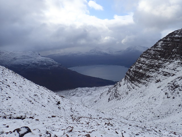 Looking back from snowy Coire Nan Laogh
