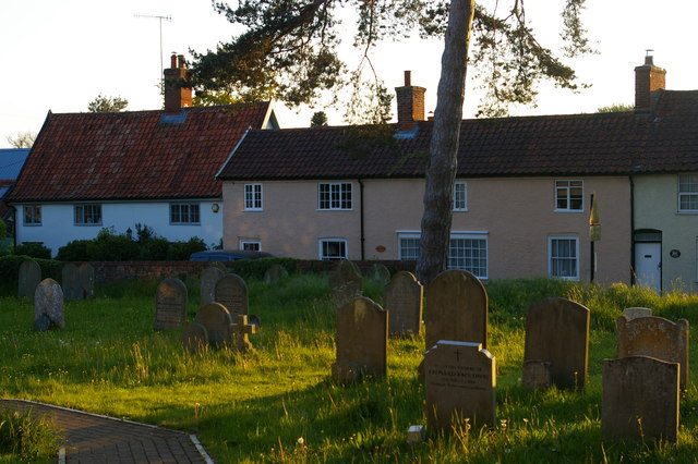 Cottages in Rendham, from the churchyard