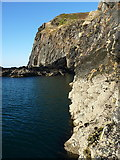 SN0441 : Steep cliffs at sea level on Pen-y-Bâl by Richard Law