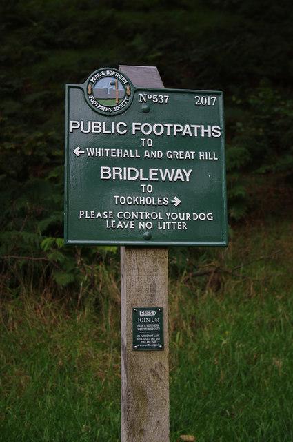 Footpath sign, Stepback Brook