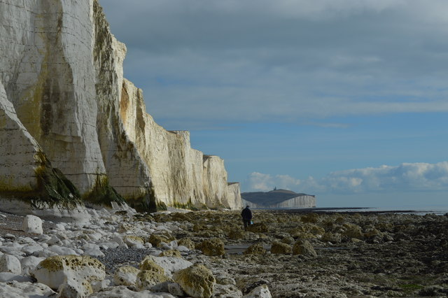 Chalk buttresses helping to support the cliffs at Haven Brow