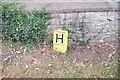 SK9446 : Hydrant sign by the churchyard wall by Bob Harvey