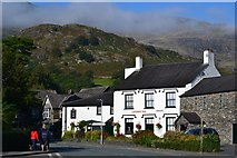 SD3097 : The Crown Inn, with morning cloud on the mountains above by David Martin