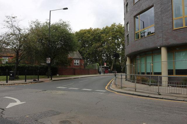 White Horse Lane at the junction of Ben Jonson Road