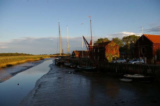 Looking down the Alde at Snape Bridge, low tide