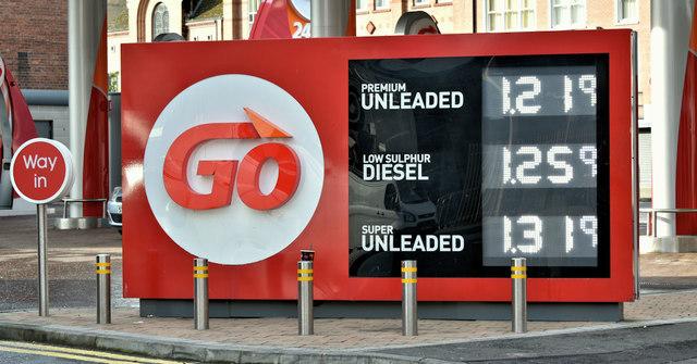 Fuel prices sign, Belfast (29 September 2019)