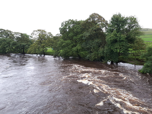 A swollen river Wharfe at Conistone