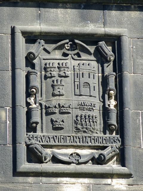 Crest on the stone abutment of the Swing Bridge (north side)