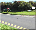 ST0168 : Grass cutting in progress on a St Athan corner by Jaggery