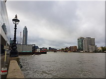 TQ3078 : On the Thames Path looking south towards Vauxhall Bridge by Tim Heaton
