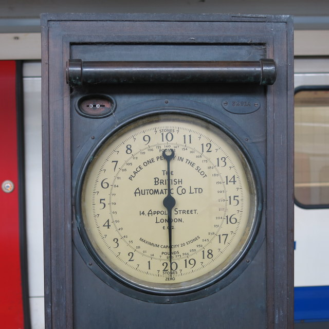 Weighing machine on Uxbridge tube station - detail (2)