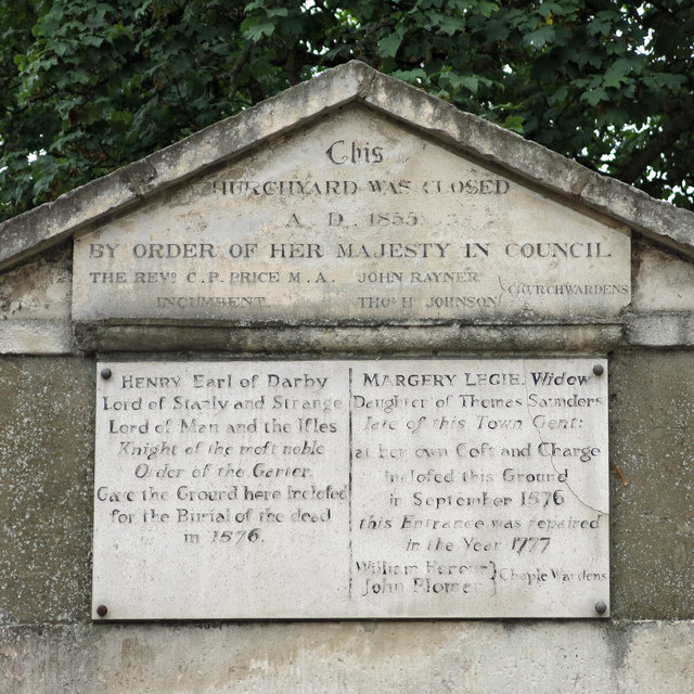 Plaques above the entrance to the former graveyard, Cross Street