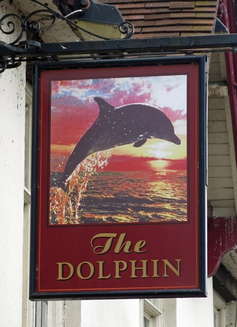 Sign for the Dolphin, Rockingham Road