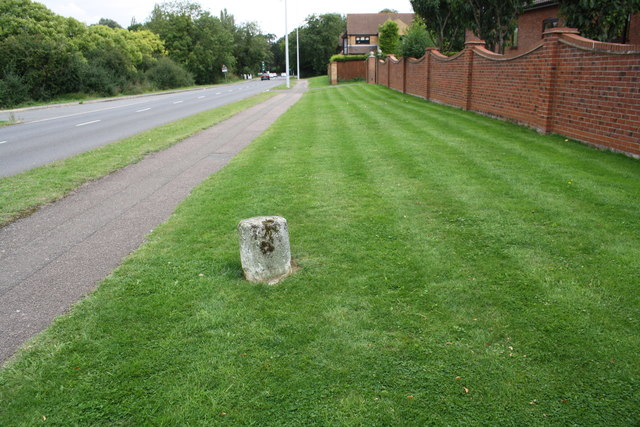 Old milestone in the verge of Oundle Road (A605)