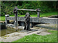 SJ9689 : Marple Locks No 4 top gate, east of Stockport by Roger  Kidd