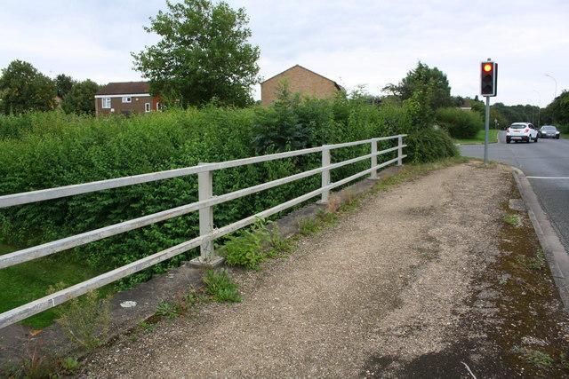 Parapet of bridge on east side of Goldhay Way at Winyates junction