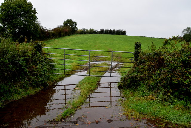 Muddy entrance to field, Sess