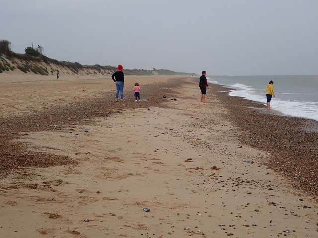 A few hardy souls on the beach at Hemsby