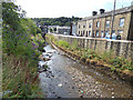 SD9424 : River Calder in Todmorden by Stephen Craven