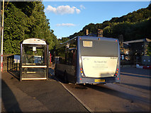 SD9926 : Bus stops outside Hebden Bridge railway station by Stephen Craven