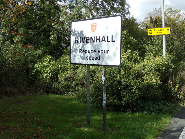 Rivenhall Village Name sign on Oak Road