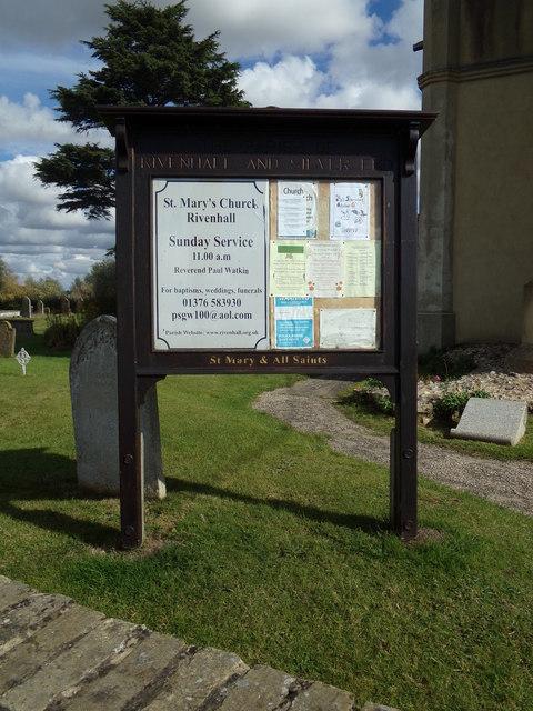 St. Mary & All Saints Church Notice Board