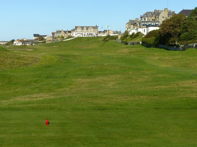 Eighteenth hole at Moray Golf Club, Lossiemouth