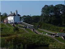 SP6989 : Foxton Locks and Top Lock Cottage by Chris Gunns