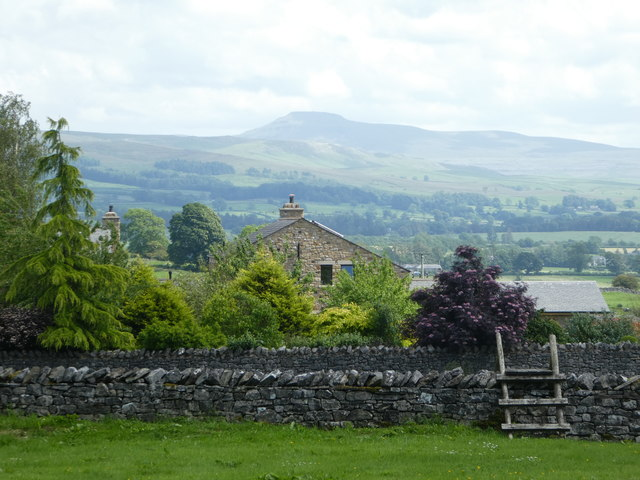 View of High Biggins farm, with Ingleborough in the distance