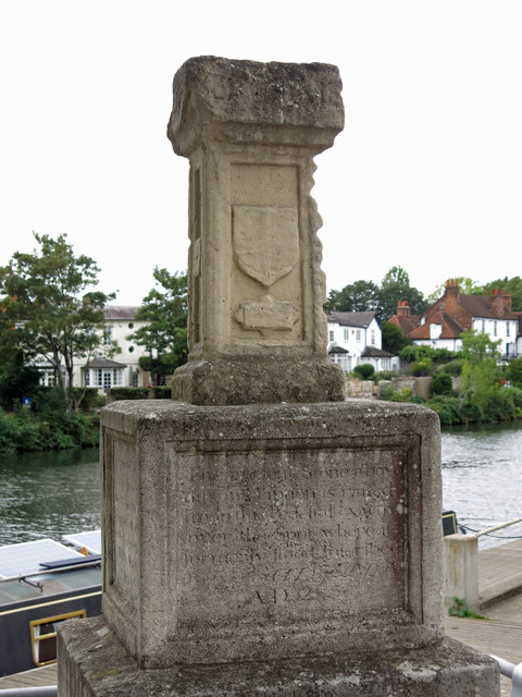 Replica of the London Stone, near Staines Town Hall - detail