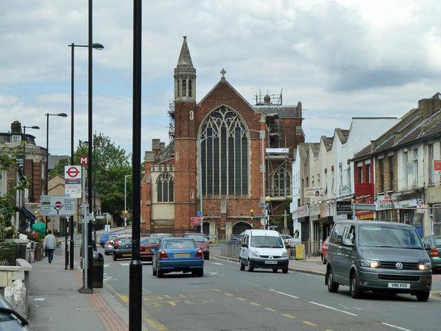Whitehorse Road and church, Thornton Heath