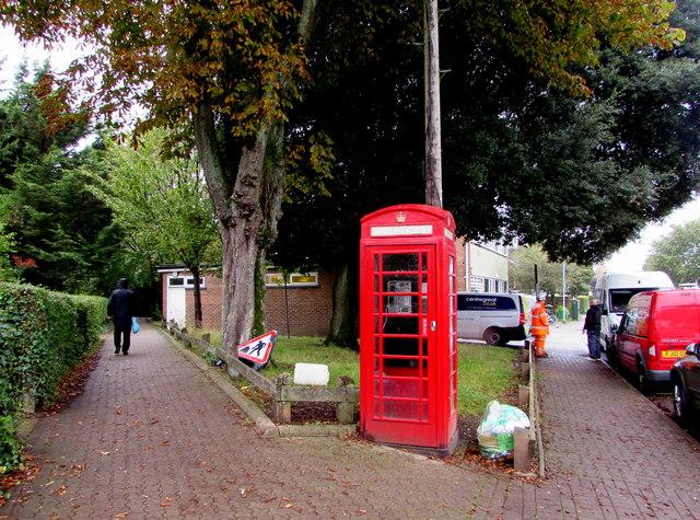 Grade II listed red phonebox, Pen-y-dre, Rhiwbina, Cardiff
