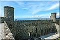 SH5831 : The west wall of Harlech Castle by Jeff Buck