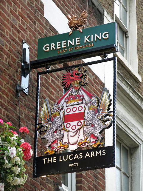 Sign for The Lucas Arms, Gray's Inn Road / Cromer Street, WC1