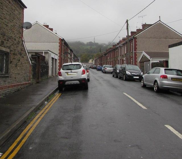 Car-lined Coronation Street, Trethomas