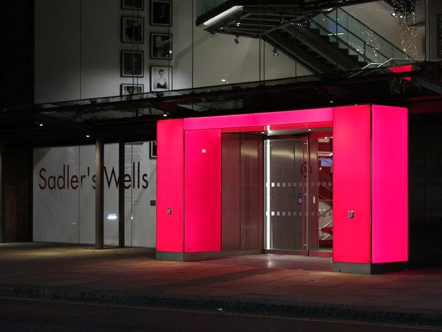 Sadler's Wells Theatre, Rosebery Avenue, EC1 - iconic entrance (at night)
