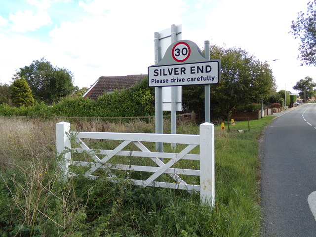 Silver End Village Name sign on Boars Tye Road